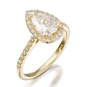 Pear shape diamond & diamonds ring model Paris