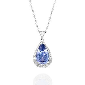 Tanzanite halo diamonds white gold pendant Daphne