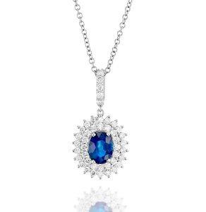Blue sapphire halo diamonds white gold pendant Abigail