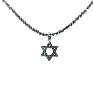 Black diamonds Star of David pendant blackened