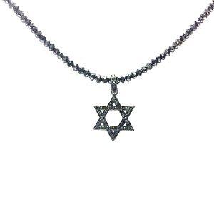 Black diamonds Star of David pendant blackened