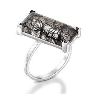 Tourmalated Quartz solitaire ring model Rory