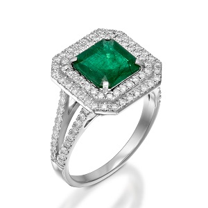 Emerald with diamonds ring model Emily