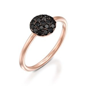 Black diamonds rose gold ring model Berry black top