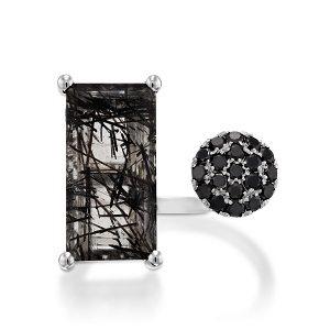 Tourmalated Quartz & Black Diamonds ring