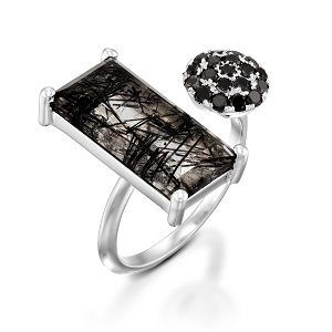 Tourmalated Quartz & Black Diamonds open ring model Laurelin