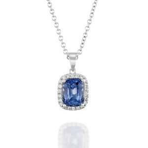 Tanzanite halo diamonds white gold pendant Aria