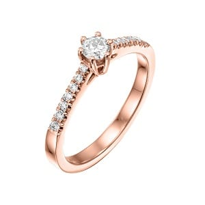 Diamonds engagement rose gold ring model