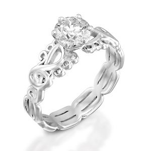 Diamond sol solitaire ring
