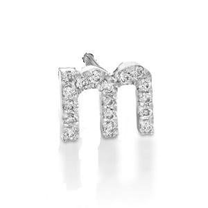 Diamonds white gold earring piercing letter M - English Alphabet