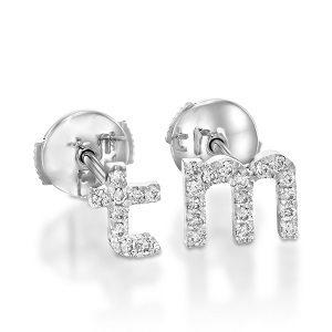 Diamonds English Alphabet white gold earrings