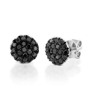 Black diamonds white gold earrings model Berry black top