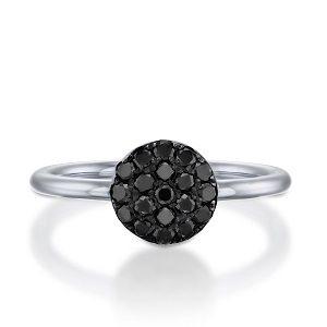 Black diamonds ring model Berry black top - white gold