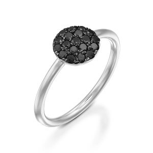 Black diamonds white gold ring model Berry black top
