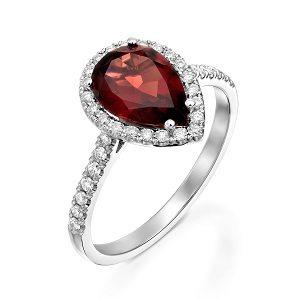 Red Garnet & diamonds ring model Roth