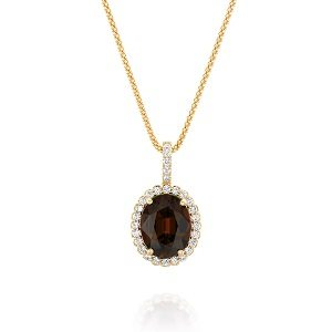 Smoky Topaz halo diamonds yellow gold pendant Royal