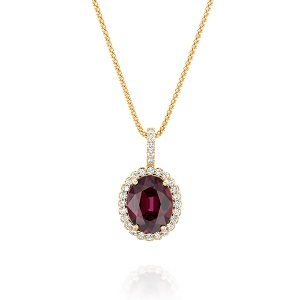 Rhodolite Garnet halo diamonds yellow gold pendant Royal