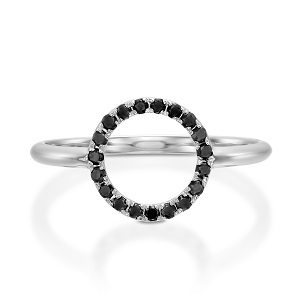 Moon halo ring & black diamonds
