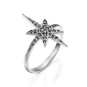 Black diamonds star white gold ring model North star