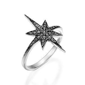 Black diamonds star white gold ring model North star black top