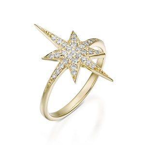 Diamonds star ring model North star - yellow gold