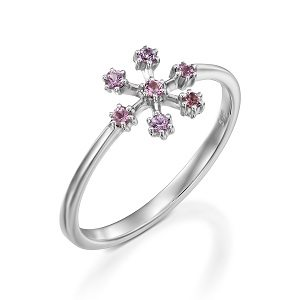 Pink Sapphires snowflake ring