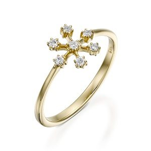 Snowflake diamonds ring model small snowflake