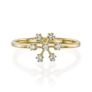Snowflake ring & white diamonds