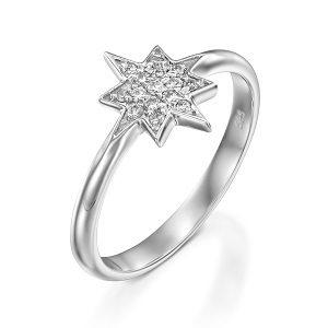 Diamonds star ring model Wishing star
