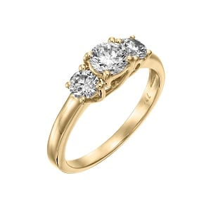 3 Diamonds yellow gold ring model Tracee 1.00 carats