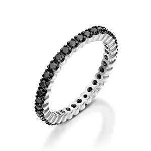 Black diamonds eternity tennis ring model Nera