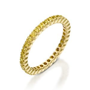 Yellow diamonds eternity tennis ring model Gialla