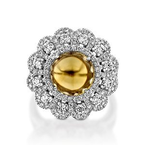 Citrine and Diamonds ring model Daisy flower