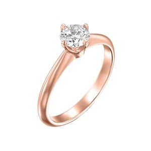 Diamond solitaire engagement rose gold ring model Korra
