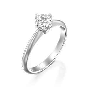 Diamond solitaire engagement white gold ring model Korra