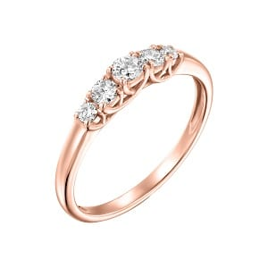 Five diamonds rose gold ring model Lucia