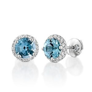 Blue Topaz halo diamonds earrings model Vivienne