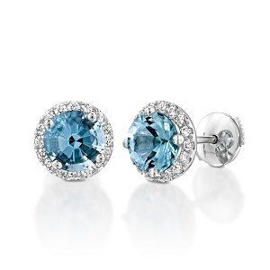 Blue Topaz halo diamonds earrings model Vivienne