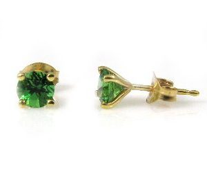 Chrome Tourmalines stud yellow gold earrings model Re