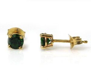 Chrome Tourmaline's stud earrings model Do - yellow gold