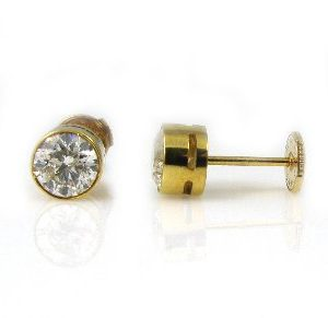 Diamonds stud yellow gold earrings model Sol