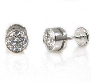 Diamonds stud white gold earrings model Sol