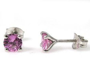 Pink Sapphires stud white gold earrings model Re