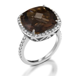 Smoky Topaz & diamonds ring model Sarah - WG