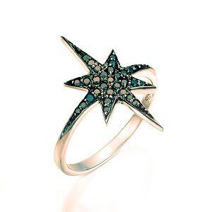 Black diamonds star rose gold ring model North star black top
