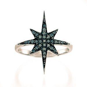 Black diamonds star ring model North star black top RG