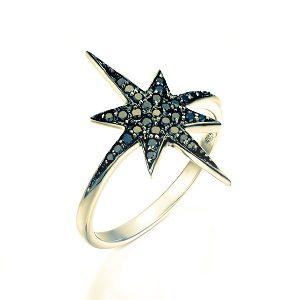 Black diamonds star yellow gold ring model North star black top