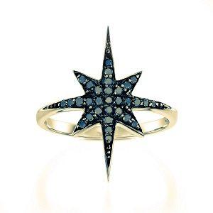 Black diamonds star ring model North star black top YG