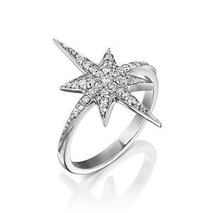 Diamonds star ring model North star - white gold