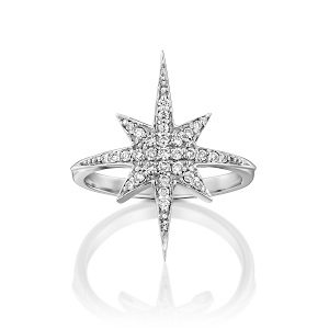 Diamonds star ring model North star - white gold